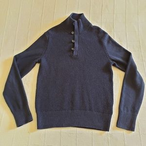 BANANA REPUBLIC Waffle Knit Cotton Blue Sweater S